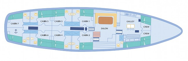 Galapagos Sail Vessel Beagle Deck Plan